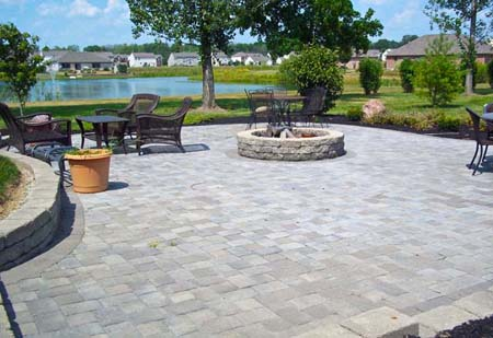 Open patio with stone fire pit