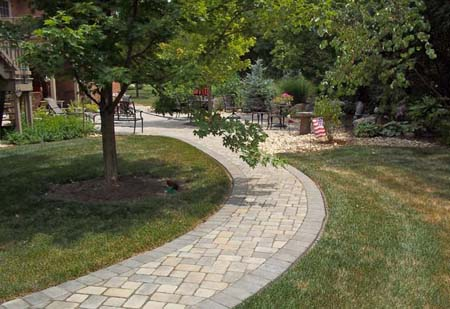 Paver walkway to patio.