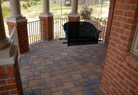 Brick patio with swing