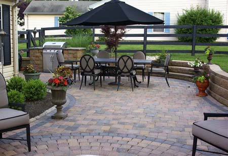 patio landscaping by fire images cleveland patios installation hoehnen hardscape brick