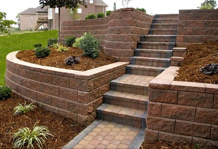 Tiered Retaining Wall With Steps