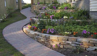 Dry stacked stone wall ~ Centerville, OH